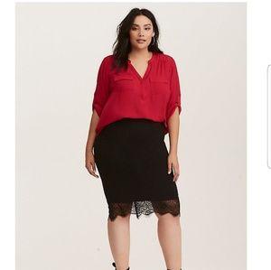 Torrid red Harper Georgette pullover blouse 1X